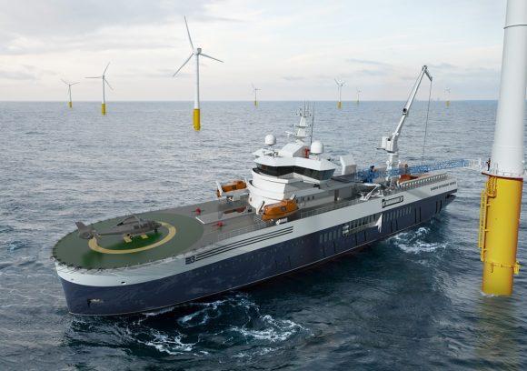 Lopend naar je werk, veilig lopen van het service-schip naar de windmolen.